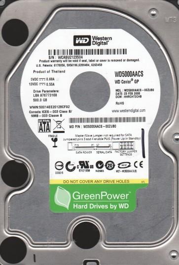 WD5000AACS-00ZUB0, DCM HHRCHT2CHB, Western Digital 500GB SATA 3.5 Hard Drive