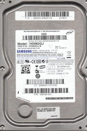 HD082GJ, FW JE100-19, A, Samsung 80GB SATA 3.5 Hard Drive