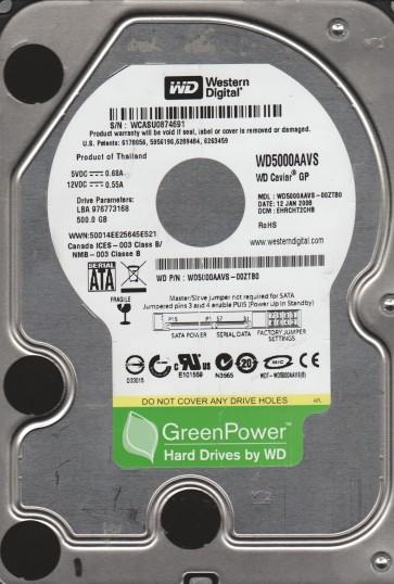 WD5000AAVS-00ZTB0, DCM EHRCHT2CHB, Western Digital 500GB SATA 3.5 Hard Drive