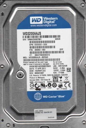 WD3200AAJS-60Z0A0, DCM HGRNHTJCE, Western Digital 320GB SATA 3.5 Hard Drive