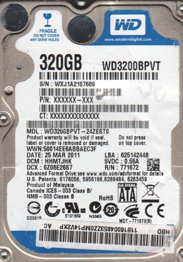 WD3200BPVT-24ZEST0, DCM HHMTJHK, Western Digital 320GB SATA 2.5 Hard Drive