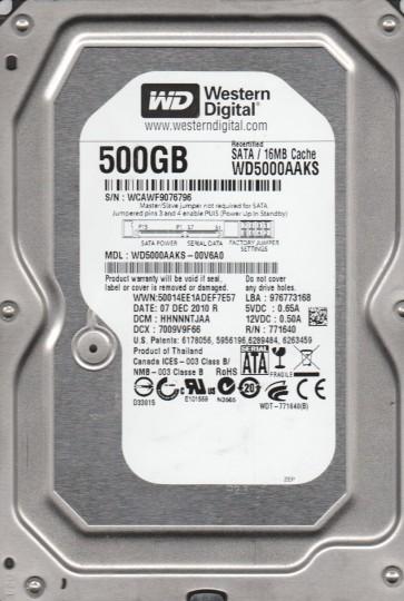 WD5000AAKS-00V6A0, DCM HHNNNTJAA, Western Digital 500GB SATA 3.5 Hard Drive