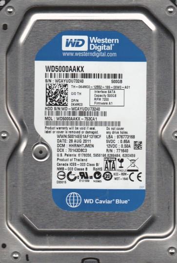 WD5000AAKX-753CA1, DCM HHRNHTJMEN, Western Digital 500GB SATA 3.5 Hard Drive
