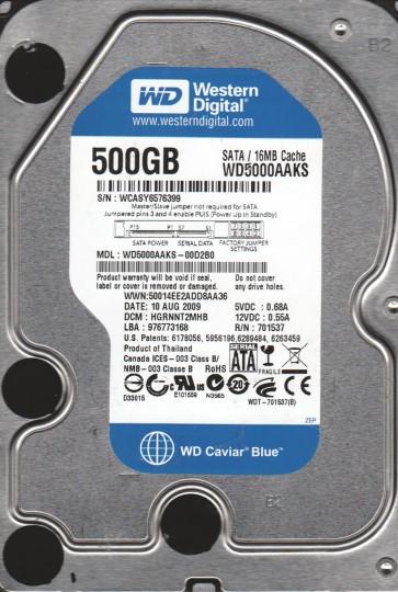 WD5000AAKS-00D2B0, DCM HGRNNT2MHB, Western Digital 500GB SATA 3.5 Hard Drive