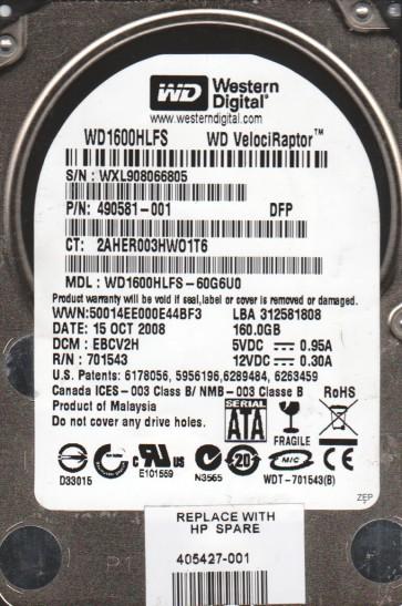 WD1600HLFS-60G6U0, DCM EBCV2H, Western Digital 160GB SATA 2.5 Hard Drive