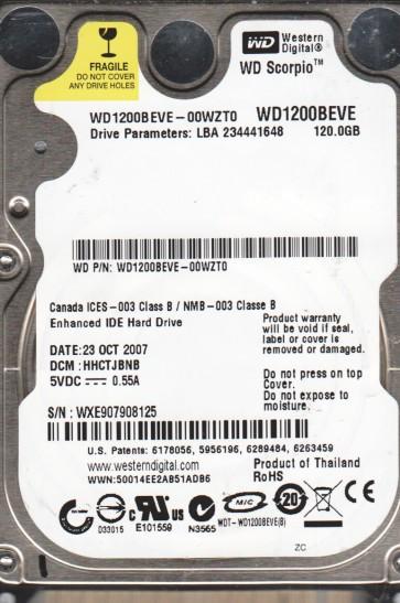 WD1200BEVE-00WZT0, DCM HHCTJBNB, Western Digital 120GB IDE 2.5 Hard Drive