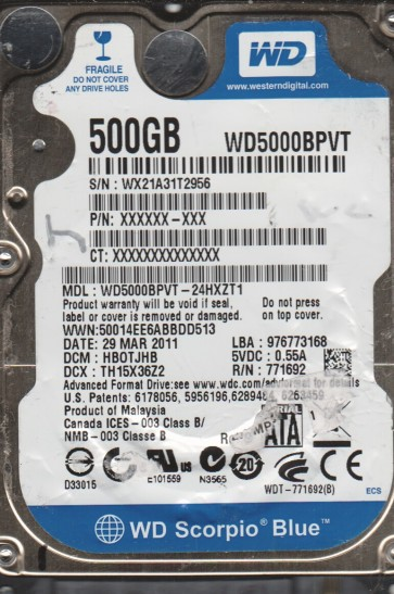 WD5000BPVT-24HXZT1, DCM HB0TJHB, Western Digital 500GB SATA 2.5 Hard Drive