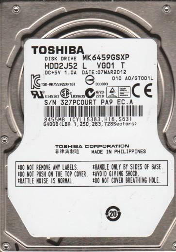 MK6459GSXP, A0/GT001L, HDD2J52 L VG01 T, Toshiba 640GB SATA 2.5 Hard Drive