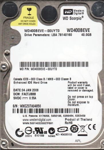 WD400BEVE-00UYT0, DCM FACTJBBB, Western Digital 40GB IDE 2.5 Hard Drive
