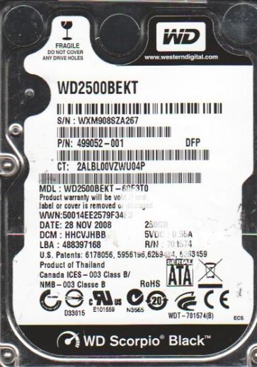 WD2500BEKT-60F3T0, DCM HHCVJHBB, Western Digital 250GB SATA 2.5 Hard Drive