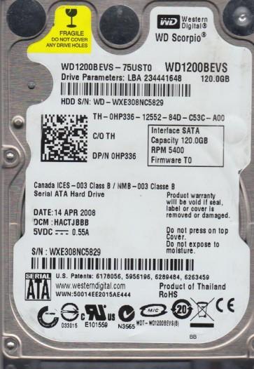 WD1200BEVS-75UST0, DCM HACTJBBB, Western Digital 120GB SATA 2.5 Hard Drive