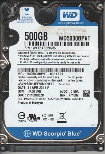 WD5000BPVT-00HXZT1, DCM HAOTJVB, Western Digital 500GB SATA 2.5 Hard Drive