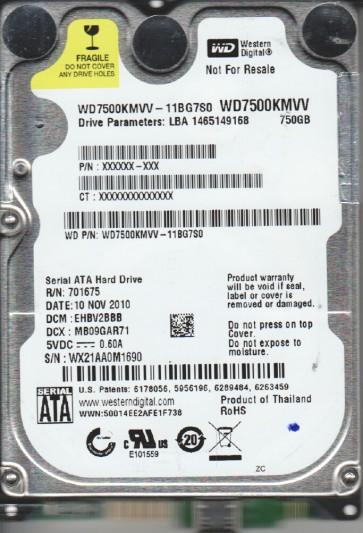 WD7500KMVV-11BG7S0, DCM EHBV2BBB, Western Digital 750GB USB 2.5 Hard Drive