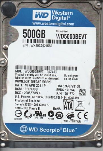 WD5000BEVT-00ZAT0, DCM EBCVJBB, Western Digital 500GB SATA 2.5 Hard Drive
