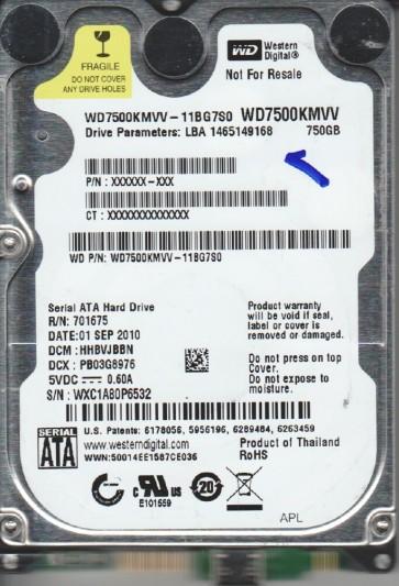 WD7500KMVV-11BG7S0, DCM HHBVJBBN, Western Digital 750GB USB 2.5 Hard Drive