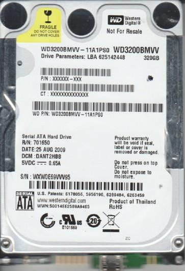 WD3200BMVV-11A1PS0, DCM DANT2HBB, Western Digital 320GB USB 2.5 Hard Drive