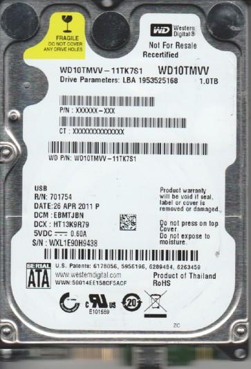WD10TMVV-11TK7S1, DCM EBMTJBN, Western Digital 1TB USB 2.5 Hard Drive
