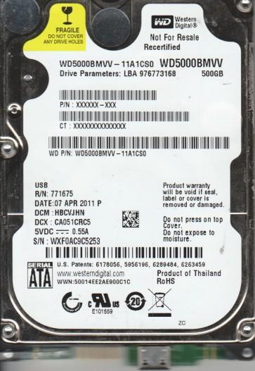 WD5000BMVV-11A1CS0, DCM HBCVJHN, Western Digital 500GB USB 2.5 Hard Drive