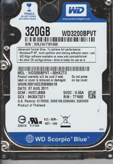 WD3200BPVT-00HXZT3, DCM HVOTJBBB, Western Digital 320GB SATA 2.5 Hard Drive