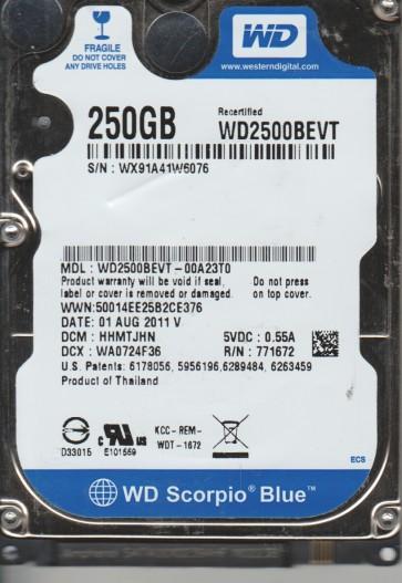 WD2500BEVT-00A23T0, DCM HHMTJHN, Western Digital 250GB SATA 2.5 Hard Drive