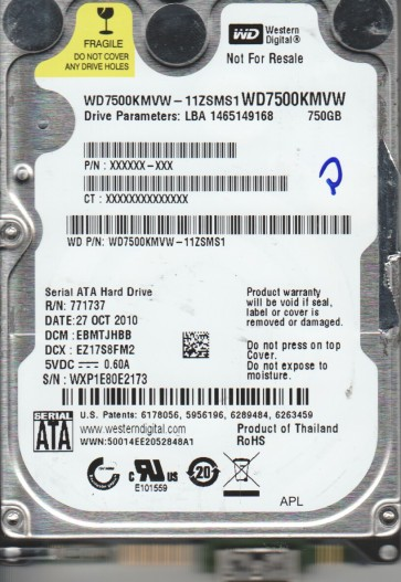 WD7500KMVW-11ZSMS1, DCM EBMTJHBB, Western Digital 750GB USB 2.5 Hard Drive