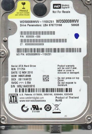 WD5000BMVV-11SXZS1, DCM HBOTJBNB, Western Digital 500GB USB 2.5 Hard Drive