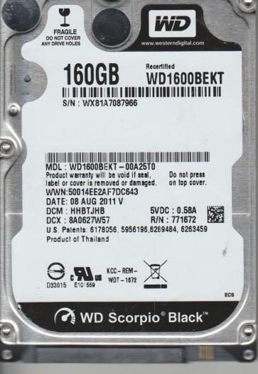 WD1600BEKT-00A25T0, DCM HHBTJHB, Western Digital 160GB SATA 2.5 Hard Drive