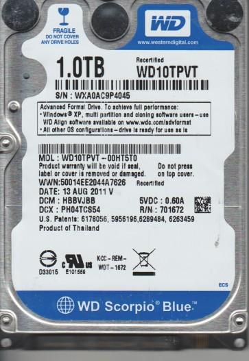 WD10TPVT-00HT5T0, DCM HBBVJBB, Western Digital 1TB SATA 2.5 Hard Drive