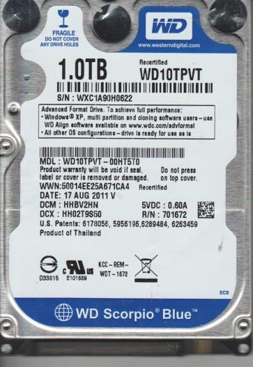 WD10TPVT-00HT5T0, DCM HHBV2HN, Western Digital 1TB SATA 2.5 Hard Drive
