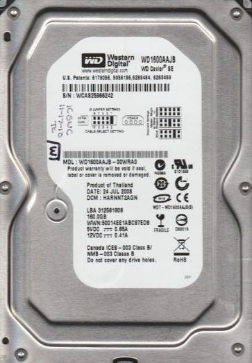 WD1600AAJB-00WRA0, DCM HARNNT2AGN, Western Digital 160GB IDE 3.5 Hard Drive