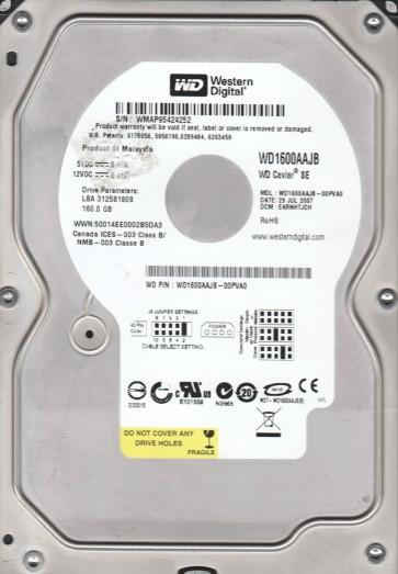 WD1600AAJB-00PVA0, DCM EARNHTJCH, Western Digital 160GB IDE 3.5 Hard Drive