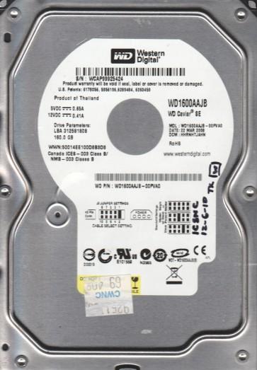 WD1600AAJB-00PVA0, DCM HHRNHTJAHN, Western Digital 160GB IDE 3.5 Hard Drive