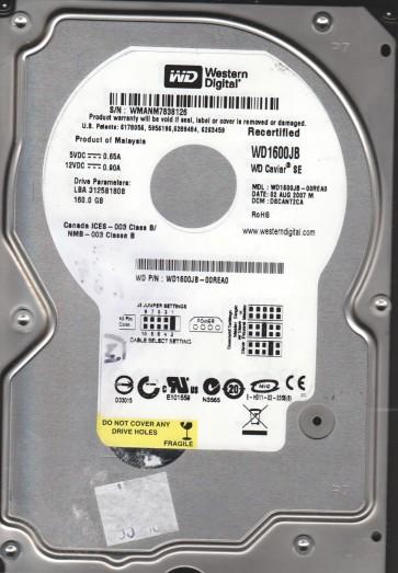 WD1600JB-00REA0, DCM DSCANT2CA, Western Digital 160GB IDE 3.5 Hard Drive