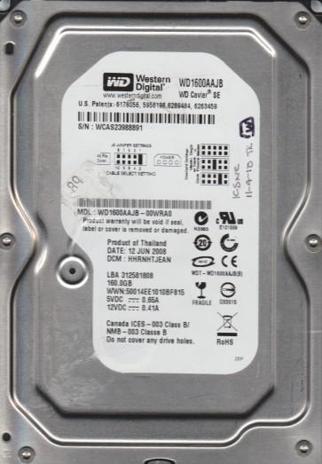WD1600AAJB-00WRA0, DCM HHRNHTJEAN, Western Digital 160GB IDE 3.5 Hard Drive