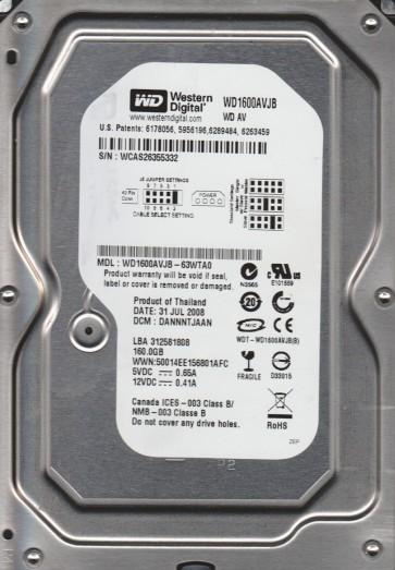 WD1600AVJB-63WTA0, DCM DANNNTJAAN, Western Digital 160GB IDE 3.5 Hard Drive