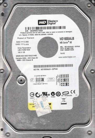 WD1600AAJB-00PVA0, DCM HBNNNT2AGN, Western Digital 160GB IDE 3.5 Hard Drive