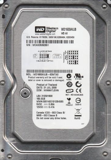 WD1600AVJB-63WTA0, DCM HHNNHTJEHN, Western Digital 160GB IDE 3.5 Hard Drive