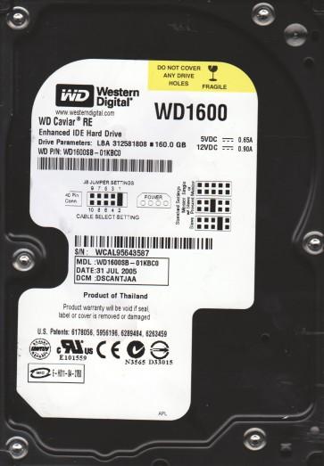 WD1600SB-01KBC0, DCM DSCANTJAA, Western Digital 160GB IDE 3.5 Hard Drive