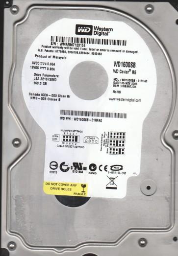 WD1600SB-01RFA0, DCM HSBANTJCH, Western Digital 160GB IDE 3.5 Hard Drive