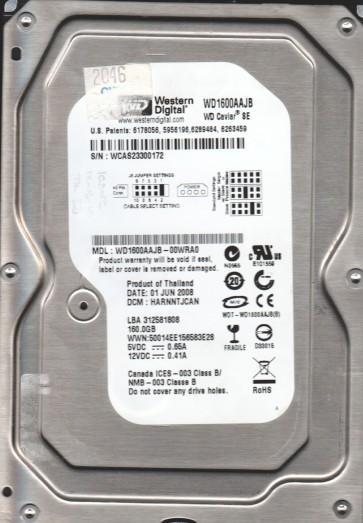 WD1600AAJB-00WRA0, DCM HARNNTJCAN, Western Digital 160GB IDE 3.5 Hard Drive
