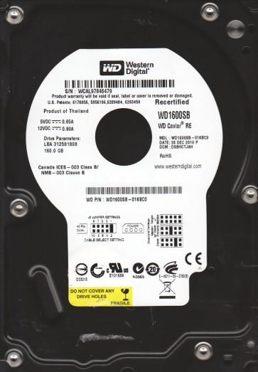 WD1600SB-01KBC0, DCM DSBHCTJAH, Western Digital 160GB IDE 3.5 Hard Drive