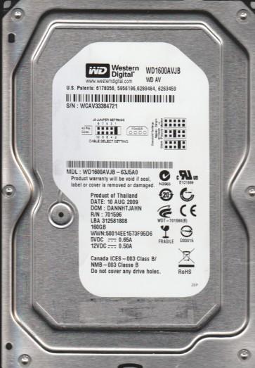 WD1600AVJB-63J5A0, DCM DANNHTJAHN, Western Digital 160GB IDE 3.5 Hard Drive