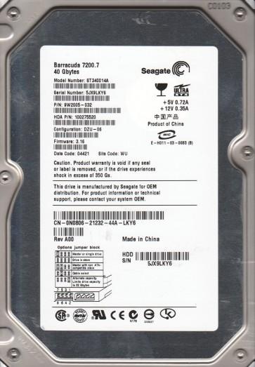 ST340014A, 5JX, WU, PN 9W2005-032, FW 3.16, Seagate 40GB IDE 3.5 Hard Drive