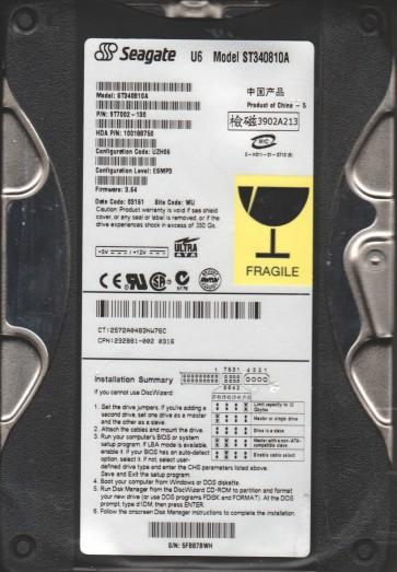 ST340810A, 5FB, WU, PN 9T7002-130, FW 3.64, Seagate 40GB IDE 3.5 Hard Drive