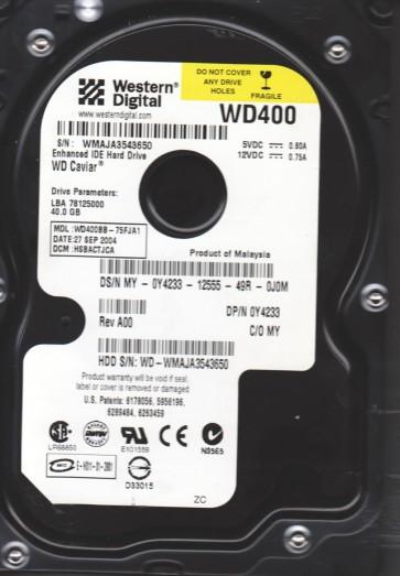 WD400BB-75FJA1, DCM HSBACTJCA, Western Digital 40GB IDE 3.5 Hard Drive