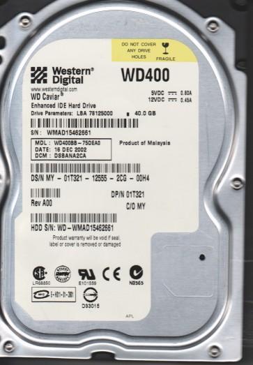WD400BB-75DEA0, DCM DSBANA2CA, Western Digital 40GB IDE 3.5 Hard Drive
