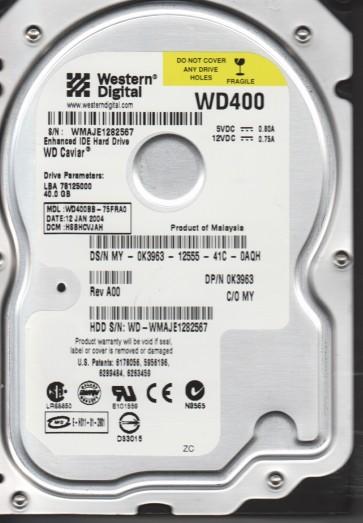 WD400BB-75FRA0, DCM HSBHCVJAH, Western Digital 40GB IDE 3.5 Hard Drive