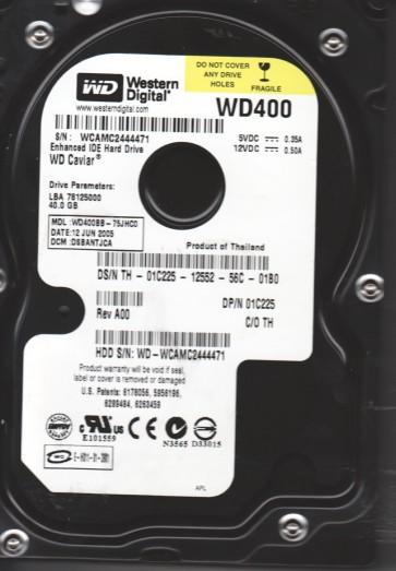 WD400BB-75JHC0, DCM DSBANTJCA, Western Digital 40GB IDE 3.5 Hard Drive