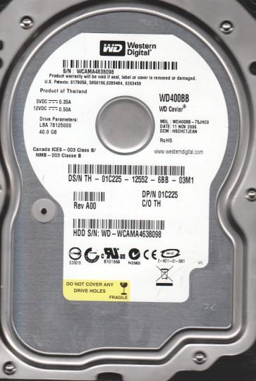 WD400BB-75JHC0, DCM HSCHCTJEAN, Western Digital 40GB IDE 3.5 Hard Drive