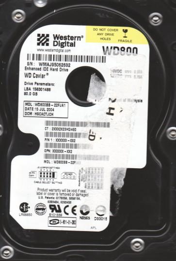 WD800BB-22FJA1, DCM HSCACTJCH, Western Digital 80GB IDE 3.5 Hard Drive